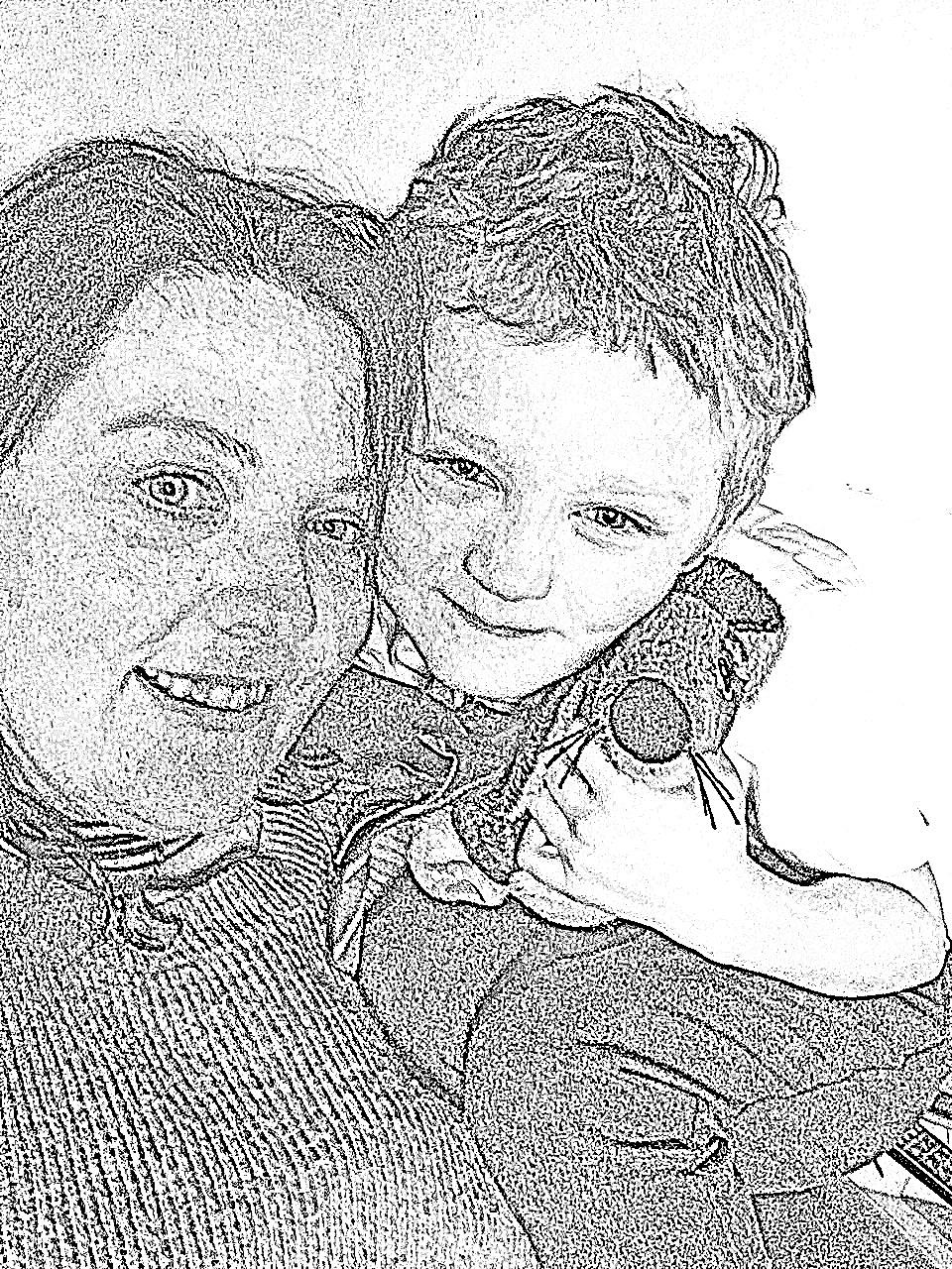 joe and mummy colouring page
